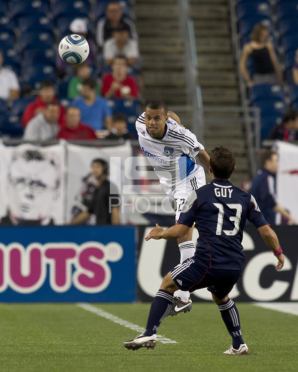 San Jose Earthquakes defender Jason Hernandez (21) heads the ball. In a Major League Soccer (MLS) match, the San Jose Earthquakes defeated the New England Revolution, 2-1, at Gillette Stadium on October 8, 2011.