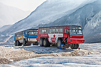 Athabasca Glacier Brewster Ice Explorers parked on the glacier during the tours.