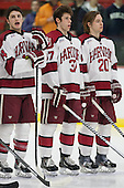 Alexander Kerfoot (Harvard - 14), Desmond Bergin (Harvard - 37), Ryan McGregor (Harvard - 20) - The visiting Brown University Bears defeated the Harvard University Crimson 2-0 on Saturday, February 22, 2014 at the Bright-Landry Hockey Center in Cambridge, Massachusetts.
