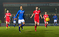 Rochdale's Joe Thompson (left) battles with Walsall's Jon Guthrie (right) during the Sky Bet League 1 match between Rochdale and Walsall at Spotland Stadium, Rochdale, England on 23 December 2017. Photo by Juel Miah / PRiME Media Images.