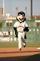 Kaboom, mascot for the Lancaster JetHawks, runs the bases during a game against the Modesto Nuts at The Hanger on June 7, 2016 in Lancaster, California. Lancaster defeated Modesto, 3-2. (Larry Goren/Four Seam Images)