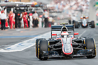 March 14, 2015: Jenson Button (GBR) #22 from the McLaren Honda team leaves the pits for qualification at the 2015 Australian Formula One Grand Prix at Albert Park, Melbourne, Australia. Photo Sydney Low