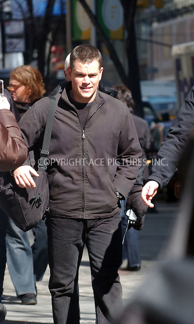WWW.ACEPIXS.COM . . . . .....February 28 2007, New York City....EXCLUSIVE COVERAGE - ALL ROUNDER....Actor Matt Damon on the set of his latest movie 'The Bourne Ultimatum' in midtown Manhattan.  ....Please byline: Kristin Callahan - ACEPIXS.COM..... *** ***..Ace Pictures, Inc:  ..Philip Vaughan (646) 769 0430..e-mail: info@acepixs.com..web: http://www.acepixs.com