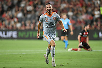 1st January 2020; Bankwest Stadium, Parramatta, New South Wales, Australia; Australian A League football, Western Sydney Wanderers versus Brisbane Roar; Brad Inman of Brisbane Roar celebrates after scoring to make it 2-1 in the 61st minute - Editorial Use