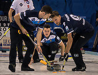Glasgow. SCOTLAND. Scotland's, Hammy McMILLAN, follows the run of his &quot;Stone&quot; during the &quot;Round Robin&quot; Game.  Scotland vs Italy at the Le Gruy&egrave;re European Curling Championships. 2016 Venue, Braehead  Scotland<br /> Wednesday  23/11/2016<br /> <br /> [Mandatory Credit; Peter Spurrier/Intersport-images]