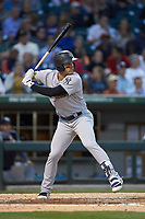 Ryan McBroom (9) of the Scranton/Wilkes-Barre RailRiders at bat against the Charlotte Knights at BB&T BallPark on April 12, 2018 in Charlotte, North Carolina.  The RailRiders defeated the Knights 11-1.  (Brian Westerholt/Four Seam Images)