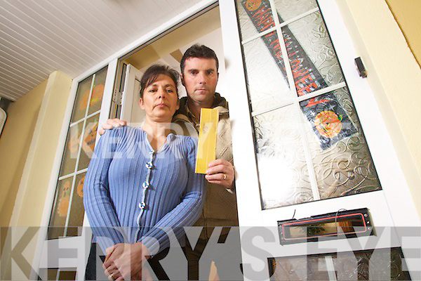 Tom and Jacqueline Lynch from Cloghers had a missile placed in their letterbox  on Sunday Night that blew the flap through their hall door.
