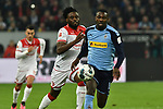 15.02.2020, Merkur Spiel-Arena, Duesseldorf, GER, 1. BL, Fortuna Duesseldorf vs. Borussia Moenchengladbach, DFL regulations prohibit any use of photographs as image sequences and/or quasi-video<br /> <br /> im Bild / picture shows: v. li. im Zweikampf Kasim Adams (#4, Fortuna Duesseldorf) Marcus Thuram  (#10, Borussia Moenchengladbach) <br /> <br /> Foto © nordphoto/Mauelshagen