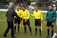 Auckland City coach Ramon Tribulietx thanks referee Hauata after the Oceania Football Championship final (second leg) football match between Team Wellington and Auckland City FC at David Farrington Park in Wellington, New Zealand on Sunday, 7 May 2017. Photo: Dave Lintott / lintottphoto.co.nz