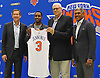 Recent New York Knicks acquisition Brandon Jennings, second from left, poses with, from left, head coach Jeff Hornacek, team president Phil Jackson and general manager Steve Mills during Jennings' introductory news conference at Madsion Square Garden Training Center in Greenburgh, NY on Friday, July 8, 2016.