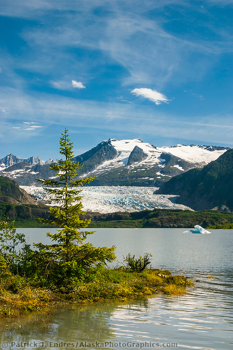 Mendenhall glacier flows out of the Coast mountains into Mendenhall lake near the southeast Alaska capital town of Juneau.