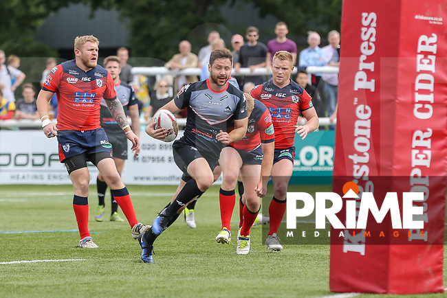 William Barthau of London Broncos breaks free to score a try during his 50th appearance for London Broncos during the Kingstone Press Championship match between London Broncos and Featherstone Rovers at Castle Bar , West Ealing , England  on 25 June 2017. Photo by David Horn.