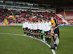 Sheffield Utd players line up for a minutes silence during the Emirates FA Cup Round One match at Bramall Lane Stadium, Sheffield. Picture date: November 6th, 2016. Pic Simon Bellis/Sportimage
