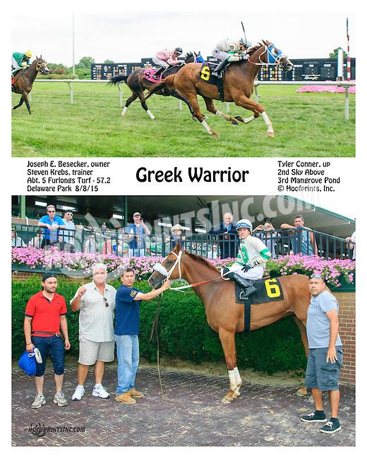Greek Warrior winning at Delaware Park on 8/8/15