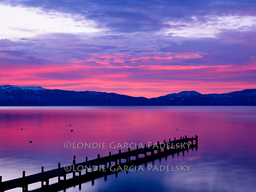 Pink dusk over Lake Tahoe, California