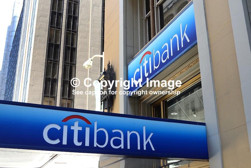 Citibank, USA, logo, signage, 201304151443<br /> <br /> Copyright Image from Victor Patterson, 54 Dorchester Park, Belfast, UK, BT9 6RJ<br /> <br /> Tel: +44 28 9066 1296<br /> Mob: +44 7802 353836<br /> Voicemail +44 20 8816 7153<br /> Skype: victorpattersonbelfast<br /> Email: victorpatterson@me.com<br /> Email: victorpatterson@ireland.com (back-up)<br /> <br /> IMPORTANT: If you wish to use this image or any other of my images please go to www.victorpatterson.com and click on the Terms &amp; Conditions. Then contact me by email or phone with the reference number(s) of the image(s) concerned.