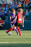 Rochester, NY - Saturday June 11, 2016: Western New York Flash midfielder Samantha Mewis (5), Orlando Pride midfielder Sarah Hagen (8) during a regular season National Women's Soccer League (NWSL) match between the Western New York Flash and the Orlando Pride at Rochester Rhinos Stadium.