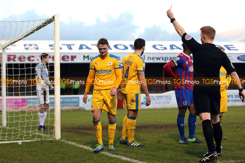 Referee A Young sends off Johnny Hunt of Chester during Dagenham & Redbridge vs Chester, Vanarama National League Football at the Chigwell Construction Stadium on 4th February 2017
