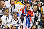 01 December 2012: Los Angeles' David Beckham (ENG) with his sons Brooklyn, Romeo, and Cruz, and Robbie Keane (IRL) (left) and Todd Dunivant after the game. The Los Angeles Galaxy played the Houston Dynamo at the Home Depot Center in Carson, California in MLS Cup 2012. Los Angeles won the game 3-1.