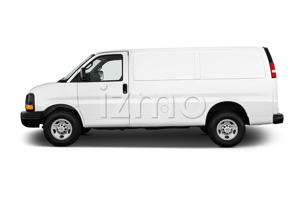 Car Driver side profile view of a 2016 Chevrolet Express-Cargo 2500-Work-Van-HD 4 Door Cargo Van Side View