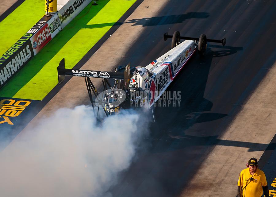 Jun 16, 2018; Bristol, TN, USA; NHRA top fuel driver Antron Brown during qualifying for the Thunder Valley Nationals at Bristol Dragway. Mandatory Credit: Mark J. Rebilas-USA TODAY Sports