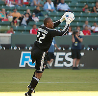 Chivas USA goalie Zach Thornton (22) saves a shot on goalduring the first half of the game between Chivas USA and the Kansas City Wizards at the Home Depot Center in Carson, CA, on September 19, 2010. Final score Chivas USA 0, Kansas City Wizards 2.