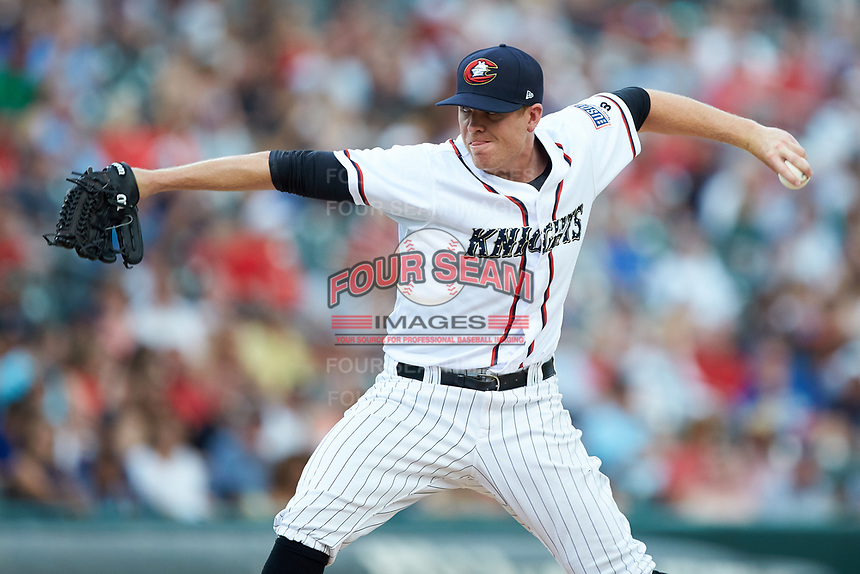 Charlotte Knights relief pitcher Aaron Bummer (31) in action against the Durham Bulls at BB&T BallPark on July 4, 2018 in Charlotte, North Carolina. The Knights defeated the Bulls 4-2.  (Brian Westerholt/Four Seam Images)