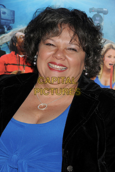 "Lidia Porto.Attending the ""Scary Movie 5"" Los Angeles film premiere held at the Cinerama Dome,  Hollywood, California, USA, .11th April 2013..portrait headshot smiling  blue black jacket velvet  .CAP/ADM/BP.©Byron Purvis/AdMedia/Capital Pictures"