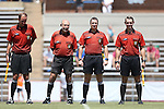 21 August 2016: Match Officials. From left: Assistant Referee Rick Rogers, Fourth Official Ayman Nabulsi, Referee Mark Kadlecik, and Assistant Referee Dallas Rosier. The Duke University Blue Devils played the University of Central Florida Knights in a 2016 NCAA Division I Women's Soccer match. Duke won the game 3-1.