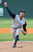 April 24, 2008: RHP Sheng-An Kuo (28) of the Asheville Tourists, Class A affiliate of the Colorado Rockies, in a game against the Greenville Drive at Fluor Field at the West End in Greenville, S.C. Photo by:  Tom Priddy/Four Seam Images