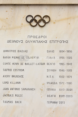 List of International Olympic Committee Presidents inscribed on marble plaque, Panathenaic Stadium, Athens, Greece <br /> CAP/MEL<br /> &copy;MEL/Capital Pictures /MediaPunch ***NORTH AND SOUTH AMERICA ONLY***