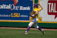 LSU Tigers outfielder Chris Sciambra #5 throws the ball to the infield against the Auburn Tigers in the NCAA baseball game on March 24, 2013 at Alex Box Stadium in Baton Rouge, Louisiana. LSU defeated Auburn 5-1. (Andrew Woolley/Four Seam Images).