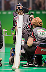 RIO DE JANEIRO - 10/9/2016:  The Canadian team of Kenneth Verwimp, Peter Cilissen and Kirsten de Laender takes on Belgium in mixed pairs BC3 boccia preliminaries at Carioca 2 arena during the Rio 2016 Paralympic Games. (Photo by Dave Holland/Canadian Paralympic Committee)