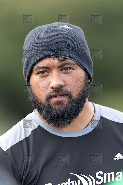 Waiuku Coach Jeremy Wara. Counties Manukau Premier Club rugby game between Pukekohe and Waiuku, played at Colin Lawrie Fields, Pukekohe on Saturday April 14th, 2018. Pukekohe won the game 35 - 19 after leading 9 - 7 at halftime.<br /> Pukekohe Mitre 10 Mega -Joshua Baverstock, Sione Fifita 3 tries, Cody White 3 conversions, Cody White 3 penalties.<br /> Waiuku Brian James Contracting - Lemeki Tulele, Nathan Millar, Tevta Halafihi tries,  Christian Walker 2 conversions.<br /> Photo by Richard Spranger