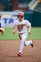 Memphis Redbirds center fielder Harrison Bader (3) running the bases during a game against the Iowa Cubs on May 29, 2017 at AutoZone Park in Memphis, Tennessee.  Memphis defeated Iowa 6-5.  (Mike Janes/Four Seam Images)