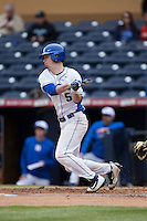 Max Miller (5) of the Duke Blue Devils follows through on his swing against the California Golden Bears at Durham Bulls Athletic Park on February 20, 2016 in Durham, North Carolina.  The Blue Devils defeated the Golden Bears 6-5 in 10 innings.  (Brian Westerholt/Four Seam Images)