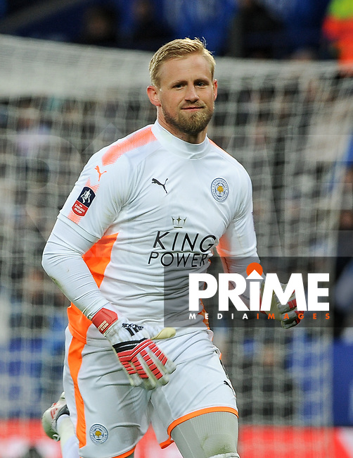 Goalkeeepr Kasper Schmeichel of Leicester City during the FA Cup QF match between Leicester City and Chelsea at the King Power Stadium, Leicester, England on 18 March 2018. Photo by Stephen Buckley / PRiME Media Images.