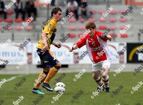 2010-04-25 / Voetbal / seizoen 2009-2010 / R. Antwerp FC - OH Leuven / Simon Vermeiren (L, OHL) met Bart de Corte..Foto: mpics