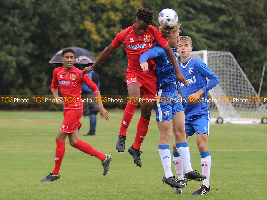 Peter Kioso of MK Dons wins an aerial challenge during Gillingham Under-18 vs Milton Keynes Dons Under-18, EFL Youth Alliance Football at Beechings Cross, Gillingham FC Training Ground on 8th October 2016