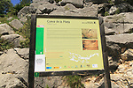 Information board notice at Cueva de la Pileta, near Ronda, Malaga province, southern Spain