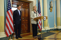 November 21, 2011  (Washington, DC)  Secretary of State Hillary Rodham Clinton and Treasury Secretary Timothy Geithner during a joint announcement on Iran at the State Department.  The announcement outlined a shift in U.S. Policy toward Iran, including new sanctions and freezes in assets.    (Photo by Don Baxter/Media Images International)
