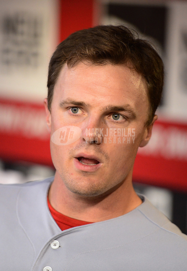 Aug. 29, 2012; Phoenix, AZ, USA: Cincinnati Reds outfielder Jay Bruce against the Arizona Diamondbacks at Chase Field. Mandatory Credit: Mark J. Rebilas-USA TODAY Sports