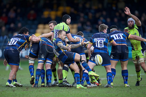 20.02.2016. Sixways Stadium, Worcester, England. Aviva Premiership. Worcester Warriors versus Sale Sharks. Worcester Warriors scrum-half Francois Hougaard clears the ball.