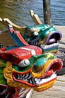 Fierce Asian dragon heads on bow of racing boats moored at dock. Dragon Festival Lake Phalen Park St Paul Minnesota USA