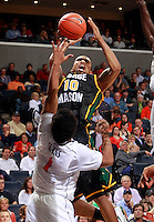 CHARLOTTESVILLE, VA- DECEMBER 6: Sherrod Wright #10 of the George Mason Patriots shoots over Jontel Evans #1 of the Virginia Cavaliers during the game on December 6, 2011 at the John Paul Jones Arena in Charlottesville, Virginia. Virginia defeated George Mason 68-48. (Photo by Andrew Shurtleff/Getty Images) *** Local Caption *** Jontel Evans;Sherrod Wright
