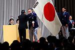 (L-R) <br />  JOCTsunekazu Takeda, <br />  Yasuhiro Yamashita, <br />   Ryota Yamagata (JPN), <br /> AUGUST 13, 2018 - Asian Games :<br /> Japan National Team Organization Ceremony <br /> for the 2018 Jakarta Palembang Asian Games <br /> in Tokyo, Japan. <br /> (Photo by Naoki Nishimura/AFLO SPORT)