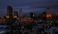 2005: Downtown Denver seen from the east early in the morning in winter, 2005. Denver will host the 2008 Democratic National Convention