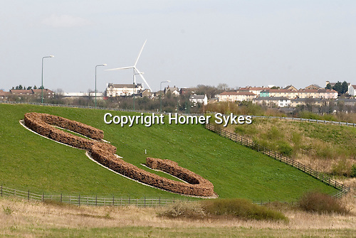 Ebbsfleet Valley Kent UK. E is the symbol of Ebbsfleet Garden City. Looking across to Northfleet.