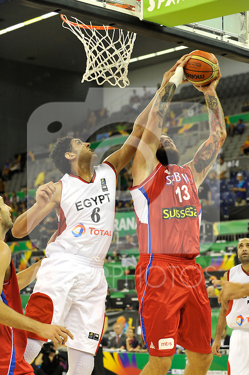 Egypt's  and Serbia's  during 2014 FIBA Basketball World Cup  Group Phase-Group A, Egypt vs Serbia, RADULJICA, Miroslav   .August 30,2014.(ALTERPHOTOS/Raul Perez)