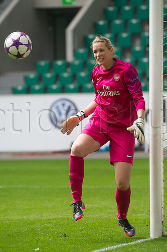 21.04.2013. Wolfsburg, Germany.  Arsenal's goalie Emma Byrne saves a shot during the match VfL Wolfsburg - Arsenal LFC in the Volkswagen Arena in Wolfsburg, Germany, 21 April 2013.